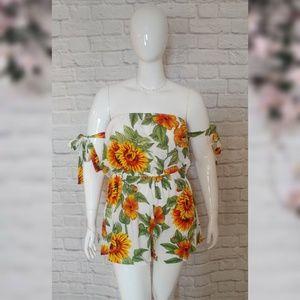 Boho Off-Shoulder Floral Romper - Plus Size